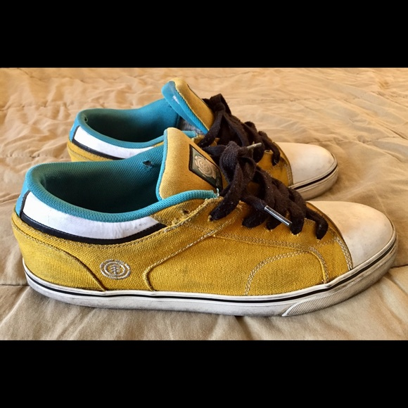 Element Other - ELEMENT CARNEGIE SK8 Yellow Blue SKATE Shoes Sz 12
